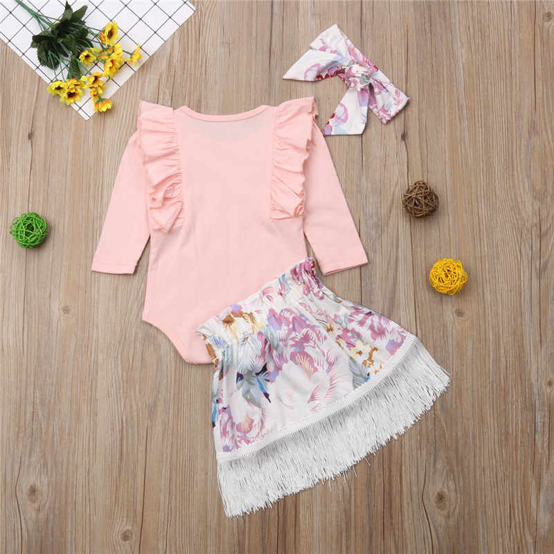 CANIS, conjunto de ropa para niña recién nacida, mono con volantes, Tops, faldas con borlas de flores, diademas, atuendos, Ropa para Niñas bebés 2018