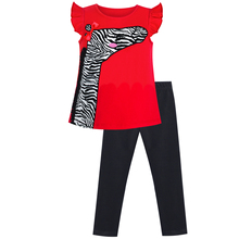 цена на Girls Outfit Set Tee and Pants Zebra Clothing Set Cotton 2020 Summer Princess Wedding Party Dresses Girl Clothes Pageant