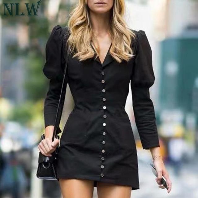 NLW 2019 Women Fashion Blazer Dress Casual V Neck High Waist Slim Mini Dress Long Sleeve Button Office Lady Chic Short Dresses 2