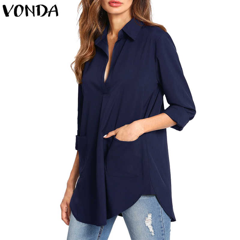 f7dd093ab4d01e1 VONDA для женщин блузка рубашка осень 2018 г. пикантные для беременных  Элегантный V образным вырезом