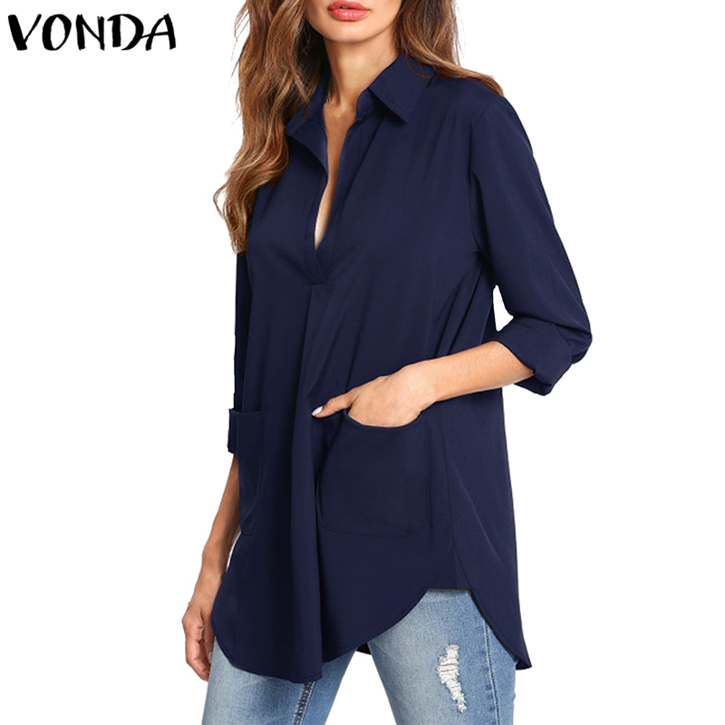 VONDA Women Blouse Shirt 2019 Autumn Sexy Pregnant Elegant V Neck Long Sleeve Asymmetric Pockets Maternity Tops Blusas Femininas