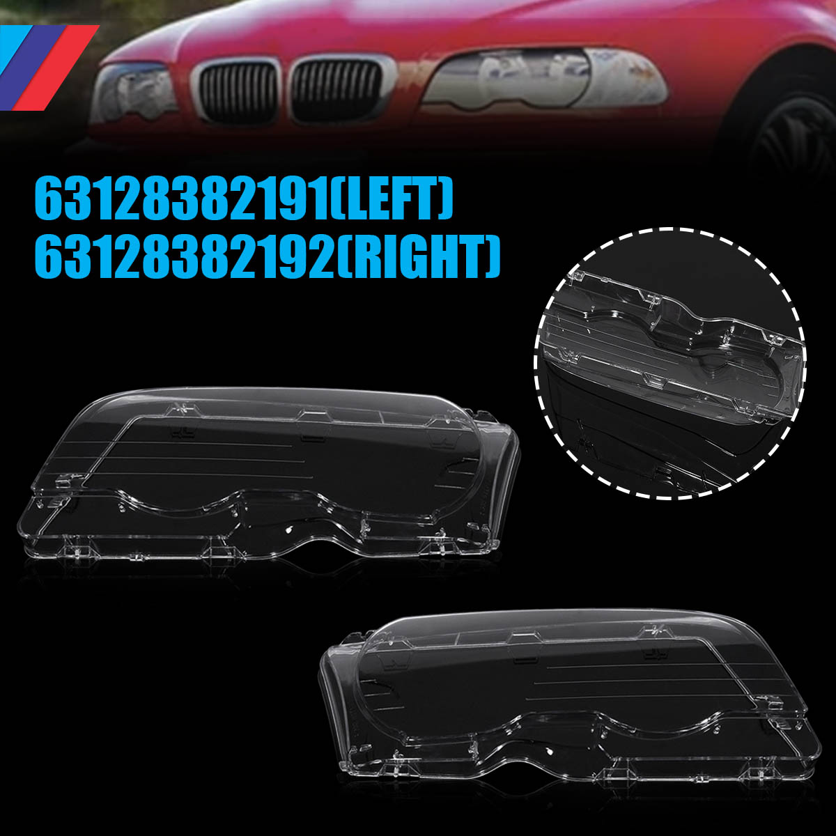 1 Pair Car Headlight Clear Lens Headlamp Clear Cover Coupe Convertible For BMW E46 2DR 1999-2003 M3 2001-2006 1 pair car headlight clear lenses lens clear cover left