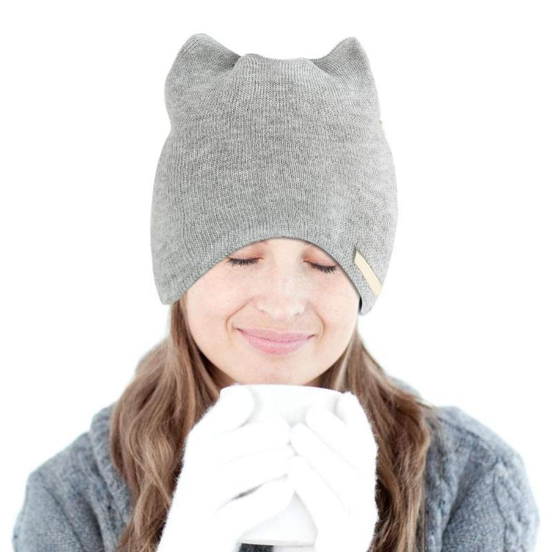 Fashion Women Winter Warm Hat Cat Ear Beanies Cap Solid Color Knitted Hats