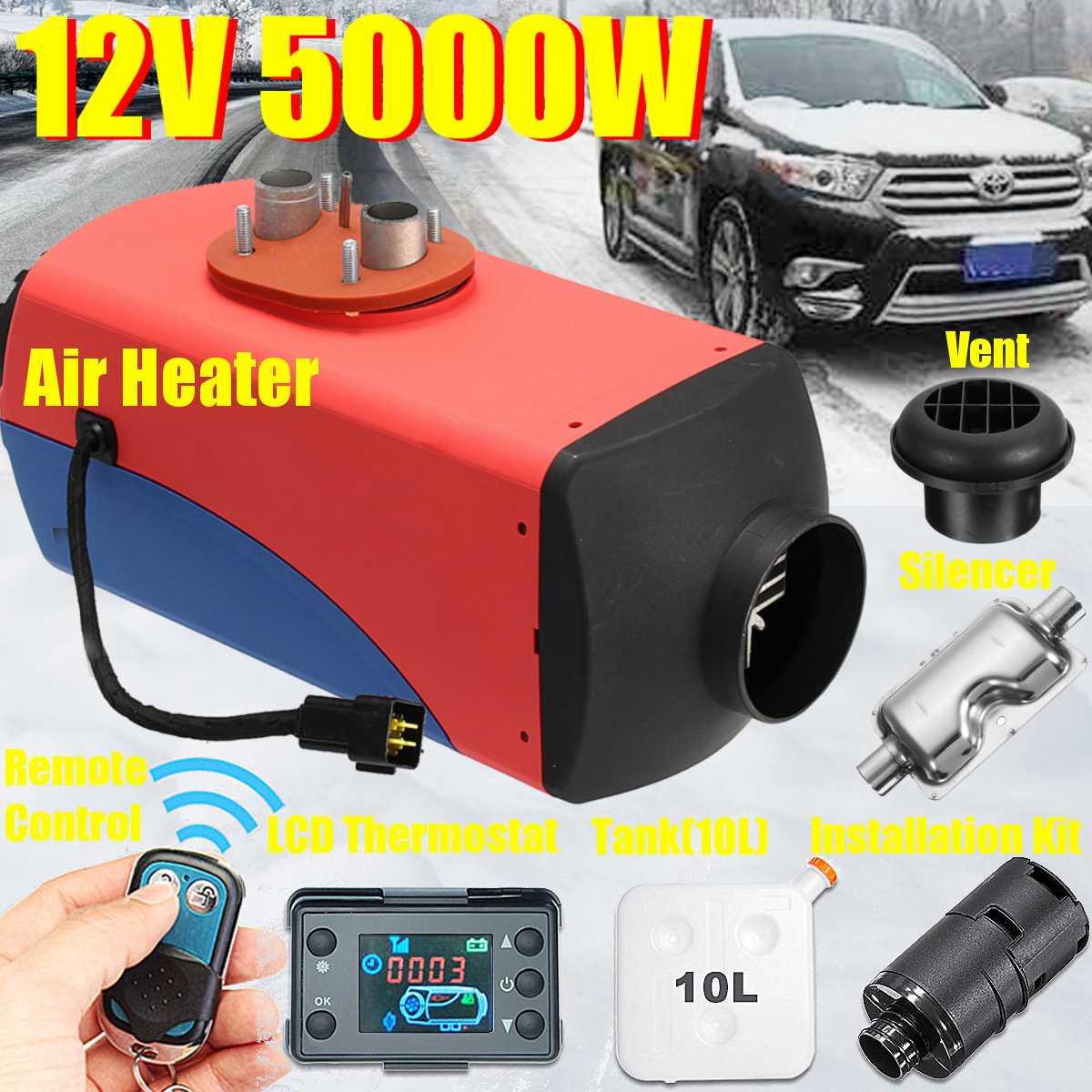 Radiateur de voiture 5KW 12 V Air D iesel Carburant Chauffe-chauffage de stationnement Avec télécommande écran lcd Kit pour la voiture Bus Camions Van Ramassage Bateau