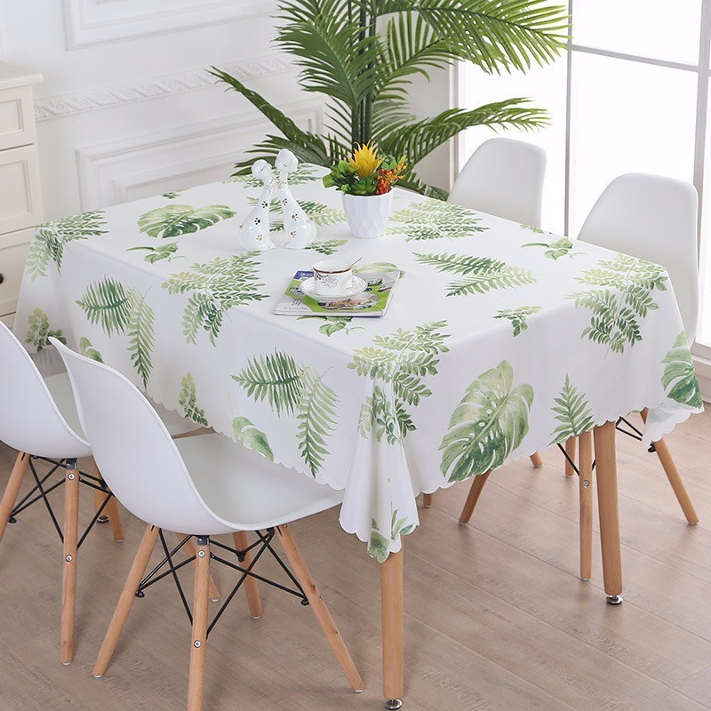 NEW Fresh Waterproof Rectangle Table Cloth Leaves Plaid Square Round Dining Table Tablecloth Refrigerator Dustproof Cover tapete
