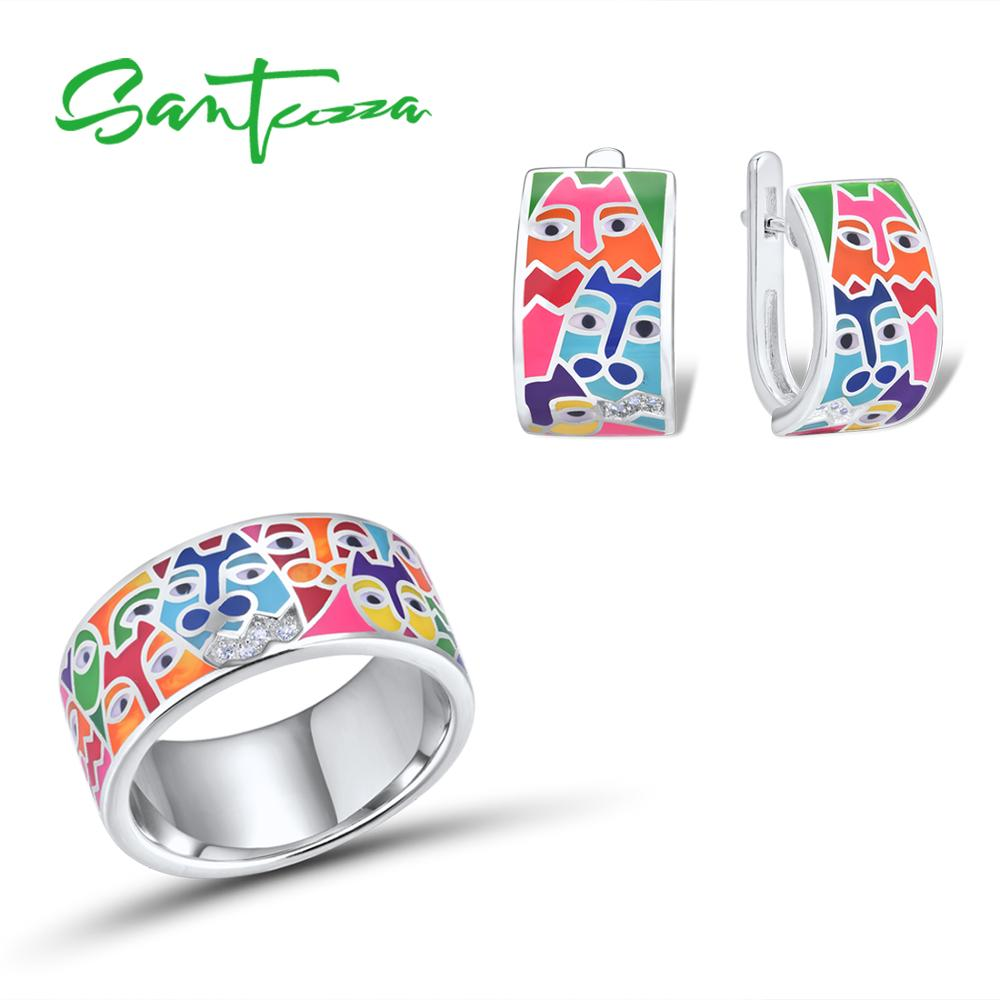 SANTUZZA Jewelry Set Fpr Women 925 Sterling Silver HANDMADE Colorful Enamel Cute Cat White CZ Ring Earrings Set Fashion Jewelry