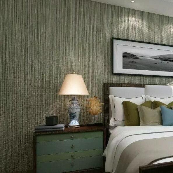Papier peint moderne en vinyle à Texture verticale en argent métallisé Faux papier peint en paille brillant pour mur de chambre