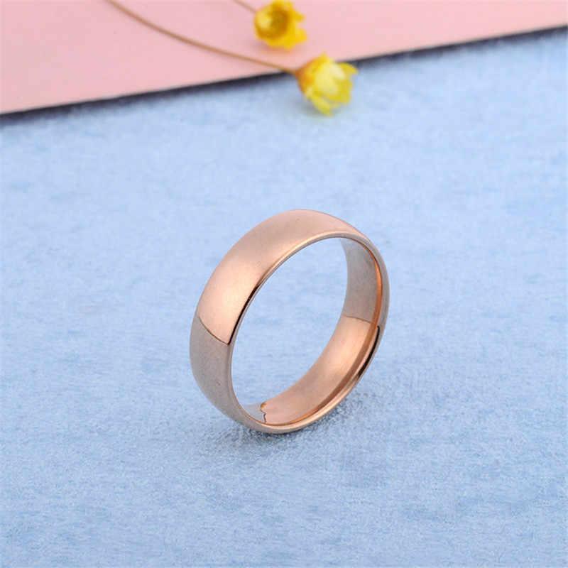 Nuevos anillos de acero inoxidable para hombres anillo de dedo de color para mujer joyería anillos de oro rosa para mujeres anillo plateado de plata para hombres regalo