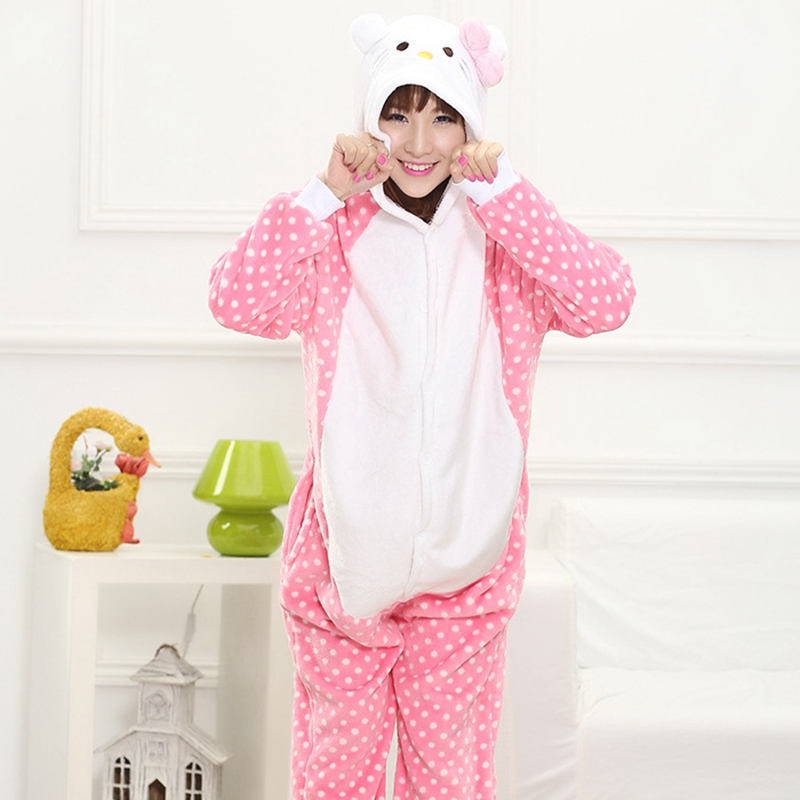 Winter Family Mother Father Kids Female Dot Pink Cat Animal Pajamas Girl Boy Pajamas Woman Hooded Home Clothing Kigurimi