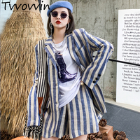 2019 New Spring Women Clothing Striped Lapel Vintage Wide Leggings Fashion Slim Little Suit Jacket Female Vestido E246