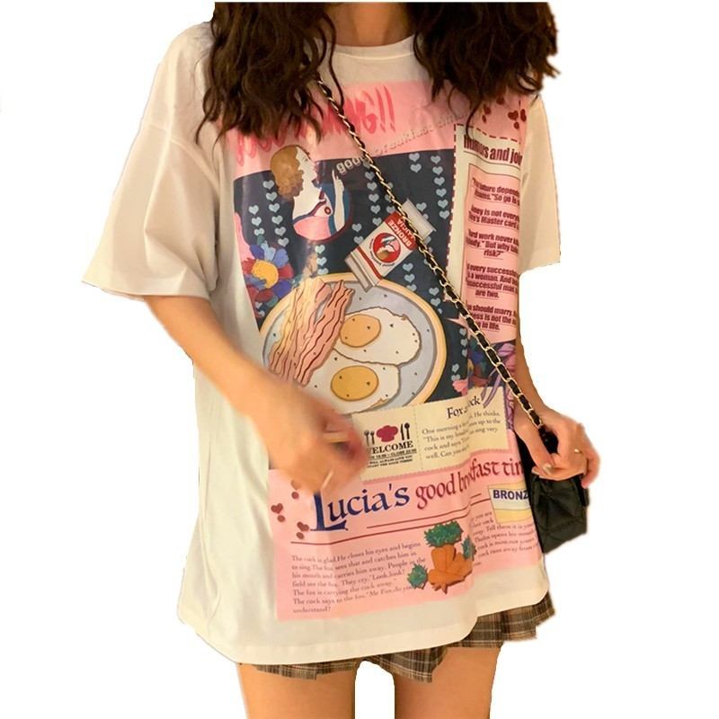 Korea Kawaii Women New Summer T-shirt Short Sleeve O-Neck Breakfast Pictures Print Fashion T Shirts Casual Loose Ladies Tops Tee