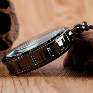 Image 3 - Relógio de bolso de luxo preto retro com corrente de bolso 30 cm esqueleto mecânico mão enrolamento relógio de bolso reloj de bolsillo