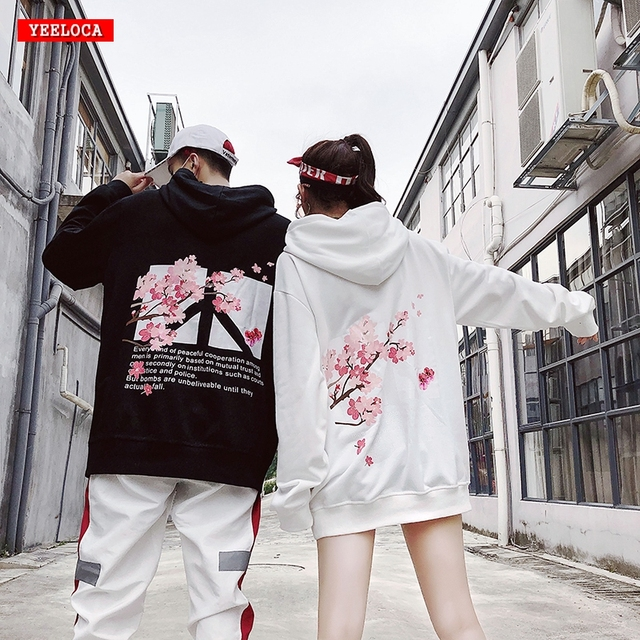 Fashion Winter Men Women Hoodies Autumn Cherry Blossom Printing Hip Hop Sweatshirts Loose Wild Harajuku High Street Pullover