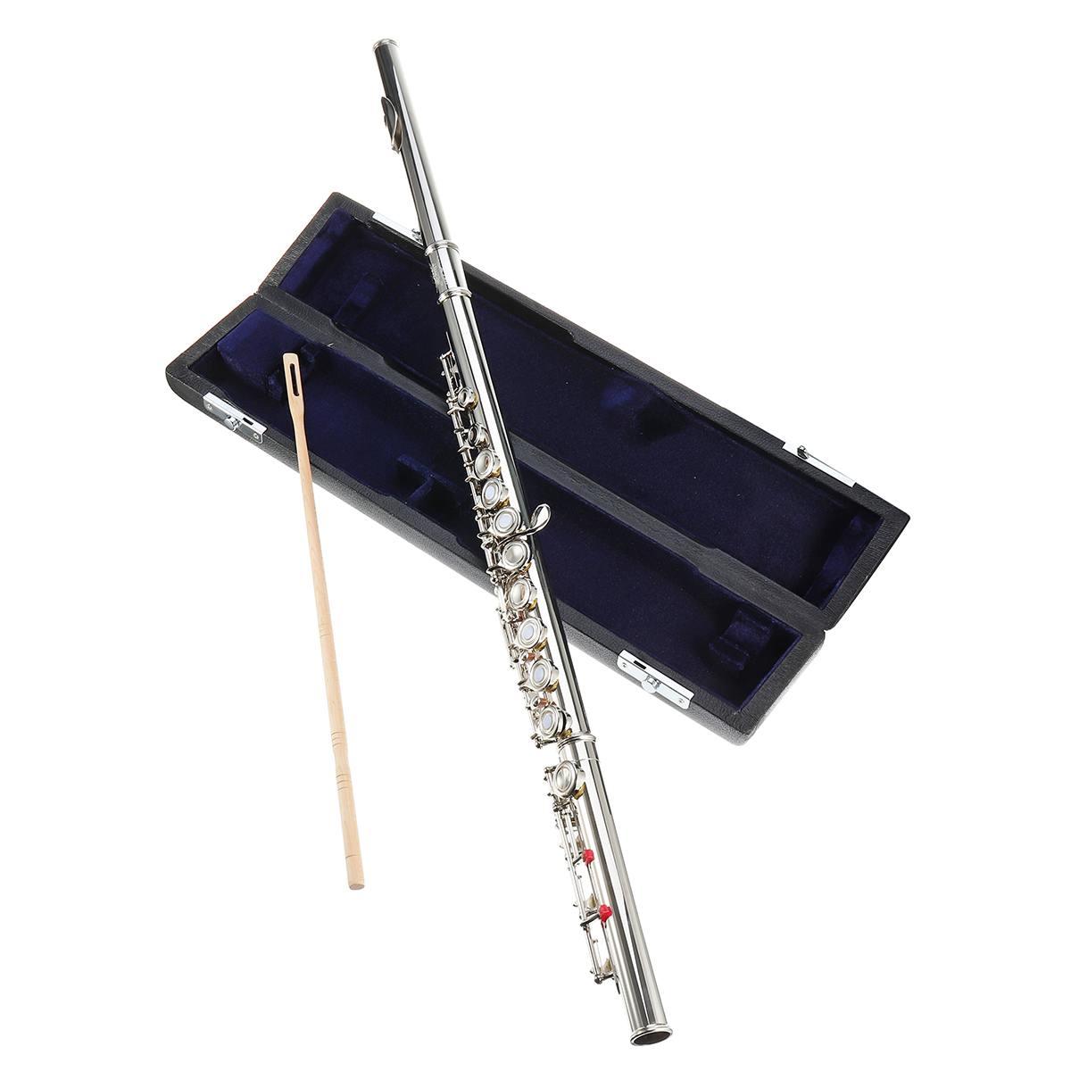 17 trous C Key Flûte Cupronickel Argent Plaqué Concert Flûte Avec chiffon de nettoyage Bâton Gants Tournevis Rembourré Sac