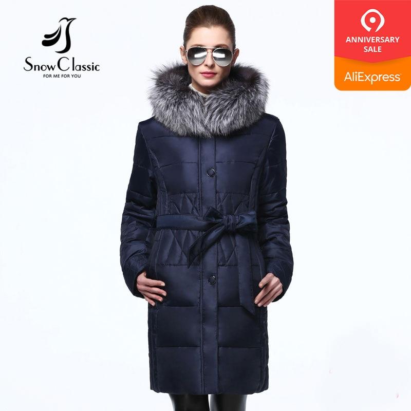 Snowclassic Winter Jacket Women 7xl plus velikosti kabátů s Sashes dámské zimní bundy a kabáty 15315