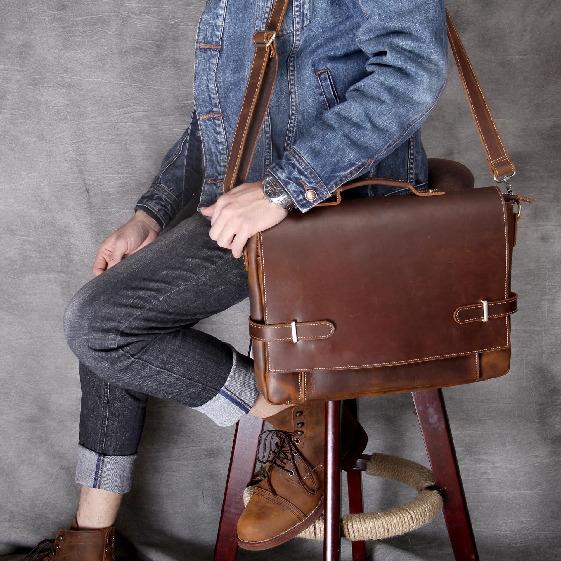 Mens Rare Crazy Horse Leather Portfolios Bags Male Large Genuine Leather Business Briefcase Laptop Handbag Messenger Bag