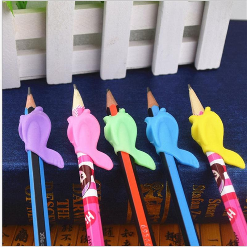 10Pcs/Set Children Pencil Holder Tools Silicone Two Finger Ergonomic Posture Correction Tools Pencil Grip Writing Aid Grip #18
