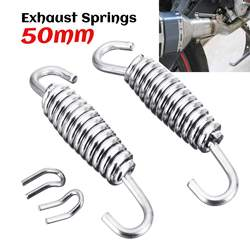 2pcs 50mm/60mm/64mm Motorcycle Exhaust Pipe Muffler Mounting Spring Hooks Link Pipes Stainless Steel