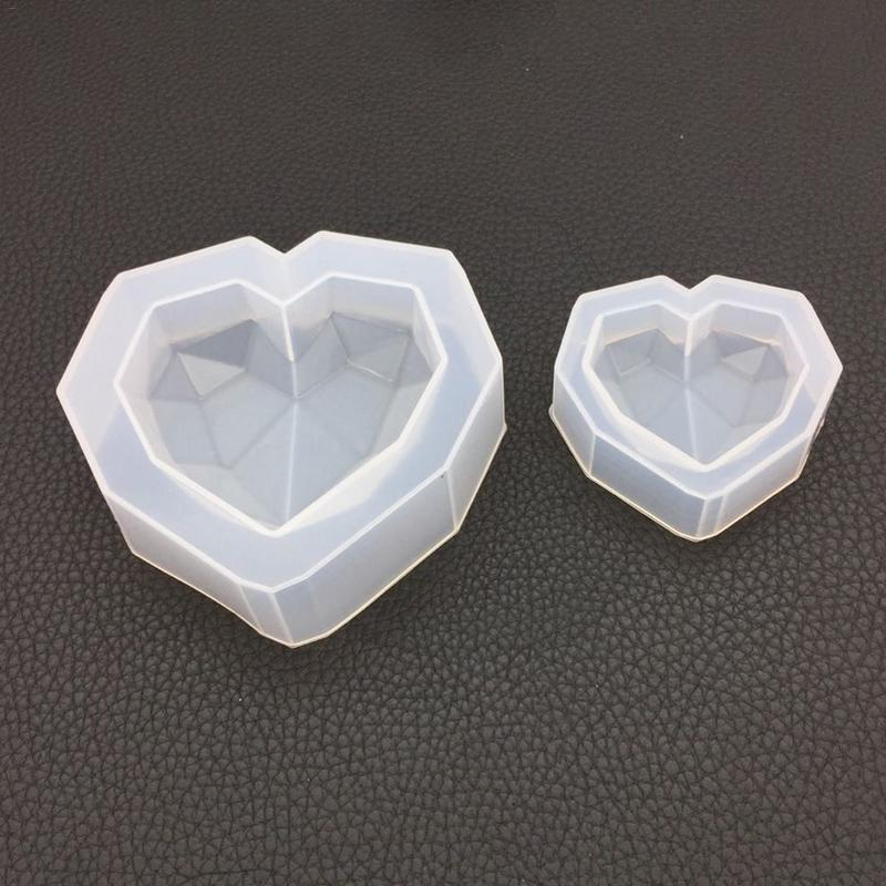 Concrete Mould DIY Geometry Heart shaped Mold High Mirror Gypsum