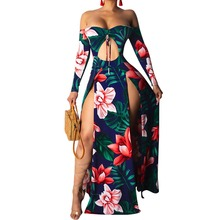 Women Off Shoulder Dress Strapless Floral Print Bodycon Party High Slit Maxi Dress Asymmetrical Summer Beach Sexy Dress random floral print maxi dress with slit design