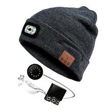 Беспроводной гарнитура Bluetooth Кепки светодиодный свет 40 m Ultra далеко освещения расстояние вязаная шапка с наушников Функция