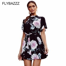 2019 Women Floral Print Beach Dress Sexy Backless Boho Summer Mini Dresses Ladies Vintage Bandage Bodycon Party Dress Vestidos summer gold black sequin dress women 2018 new backless halter hollow out sundress sexy club bodycon mini party dresses vestidos