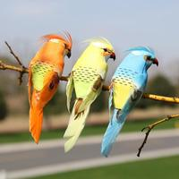 13CM Simulation Artificial Parrot Gardening Home Decoration Mall Venue Scene Layout Props Fake Bird Ornament