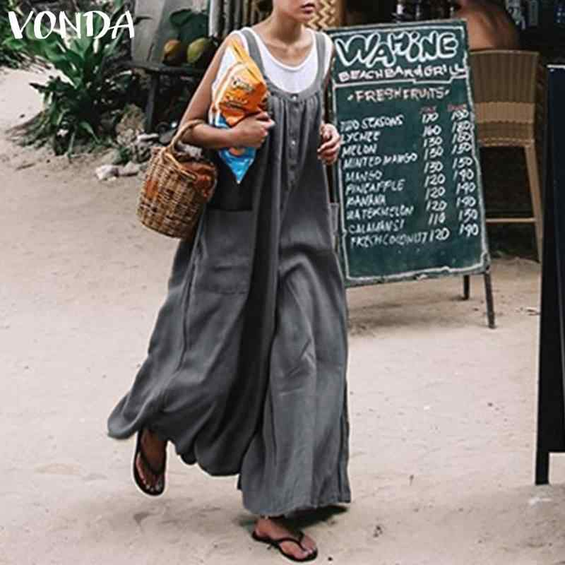 cfaab879b0 ... VONDA Plus Size Overalls 2019 Summer Rompers Women Jumpsuits Wide Leg  Pants Casual Loose Sexy Strap ...