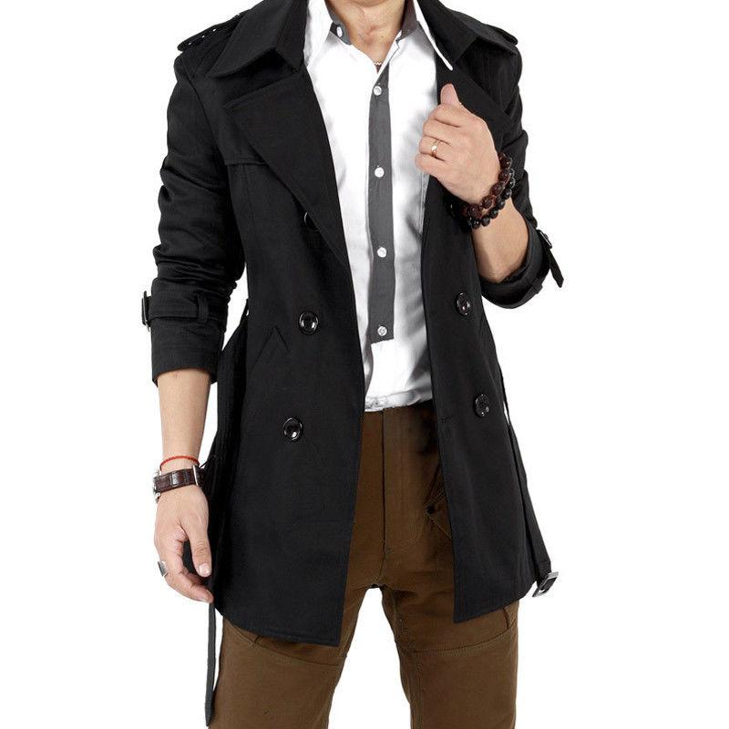 Men Windbreaker Long Fashion Jacket with Double-breasted Buttons Lapel Collar Coat