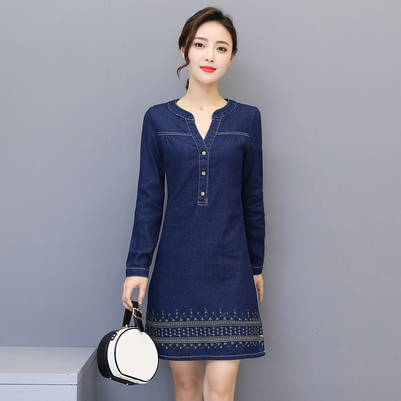 Practical Fashion Solid O-neck Short Sleeve Denim Dress Women Party Dresses Office Denim Jeans Button Dress Robe Plus Size Vestidos Women's Clothing