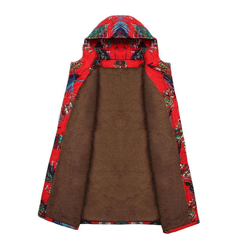 Middle Aged Women Fashion Winter Warm Velvet Printing Jackets Coats Hooded Collar Casual Long   Parkas   Laidies Overcoat Plus Size