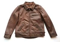 super quality cow leather jacketamerican stylegenuine leather jacketsbrown classic man motor coatsales