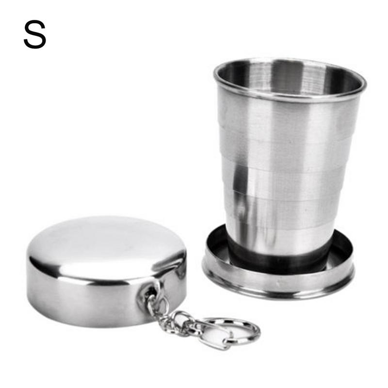 Image 3 - Innovative Folding Cup Coffee Wine Cups Stainless Steel Tumbler Outdoor Camping Trip Travel Retractable Foldable Mouthwash Cup-in Water Bottles from Home & Garden