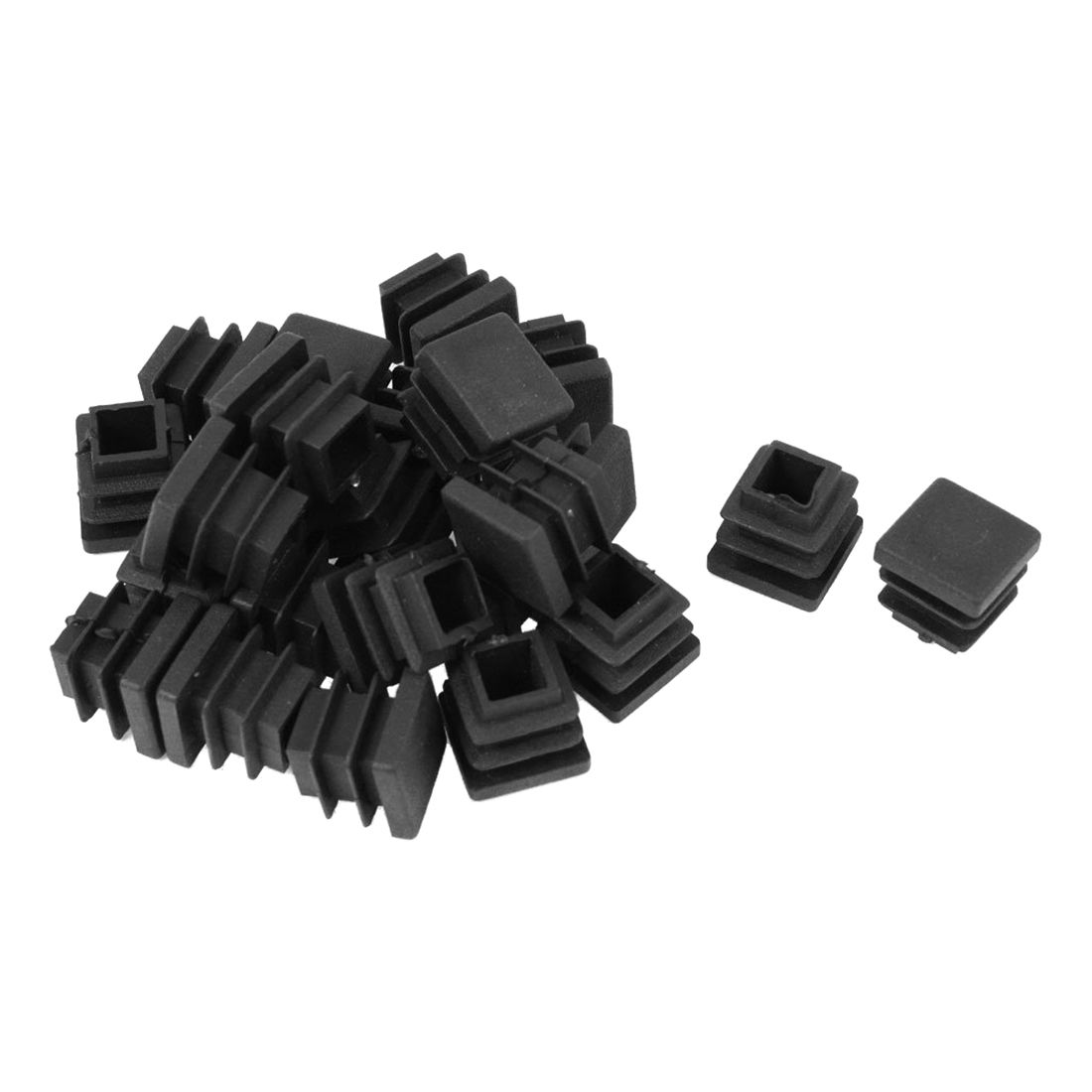 24 Pieces 16 * 16mm Plastic Striated Tube Plugs Insertion Black24 Pieces 16 * 16mm Plastic Striated Tube Plugs Insertion Black