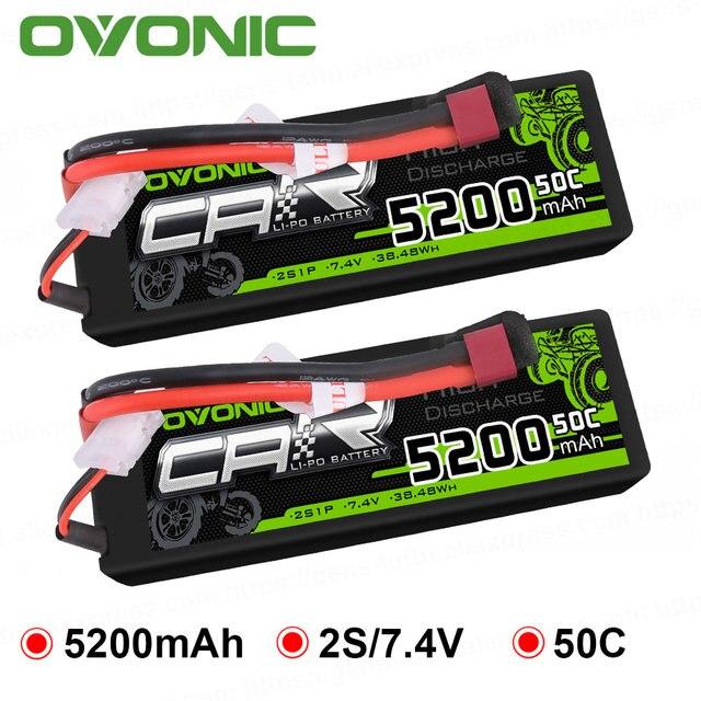 2X Ovonic LiPo Battery 5200mAh 7.4V LiPo 2S 50C-100C Battery Pack Hardcase for 1/8 1/10 Bandit Emaxx Traxxas Slash HPI RC Car