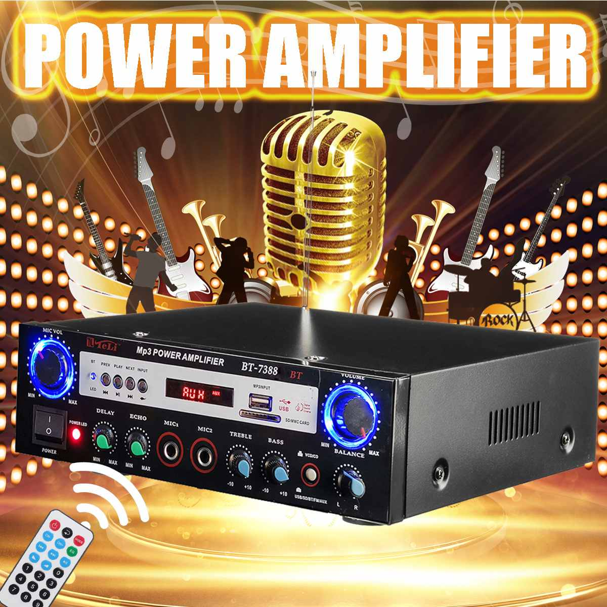 480w 12/220v 2ch Hifi Digital Audio Amplifier Bluetooth Stereo Car Power Amplifiers Home Theater Amplifier With Remote Control Agreeable To Taste Home Audio & Video