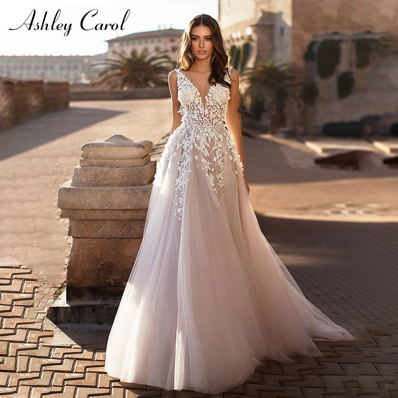 Ashley Carol Sexy V neckline Backless Tulle Beach Wedding Dress 2019 Appliques Sleeveless Bride Dresses Princess