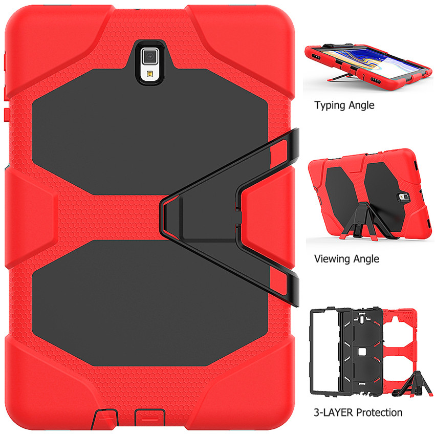 For Samsung Galaxy Tab S4 10.5 T830 T835 T837 Heavy Hybrid Armor Case Hard PC+Soft Rubber Protective Cover+Kickstand
