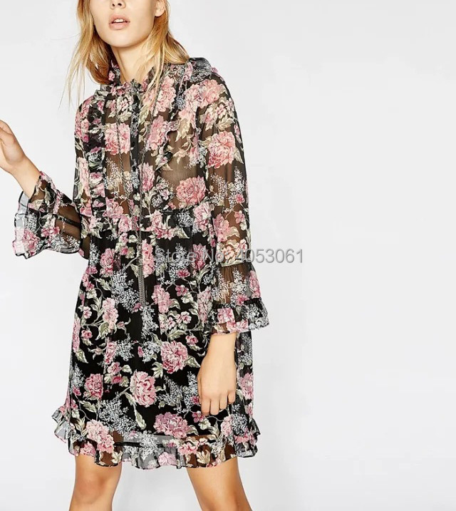 Stylish Ruffled Floral Print Mini Dress Features Flared Sleeves 2019 Spring Summer Women Black Floral Printed