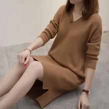 Autumn Winter Solid Knitted Sweater Dresses Women Fashion Loose V-neck Pullover Female Knitted Dress Vestidos Feminino Plus Size vestidos elegant sweater dress women v neck warm knitted autumn casual winter dresses women 2016 plus size lj7214t