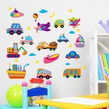 Cartoon Transport Cars Wall sticker For Kids Rooms Home Decor Boys Room Decoration Trucks Tractors Vinyl Art Poster