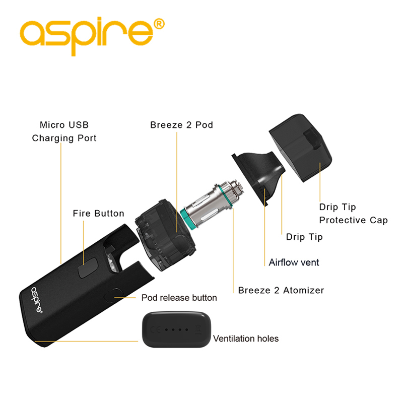 Electronic Cigarette Aspire Breeze 2 AIO Vape Kit Built-in 1000mAh Battery 3ml/2ml Tank Atomizer vaporizador Hot VS ijust s