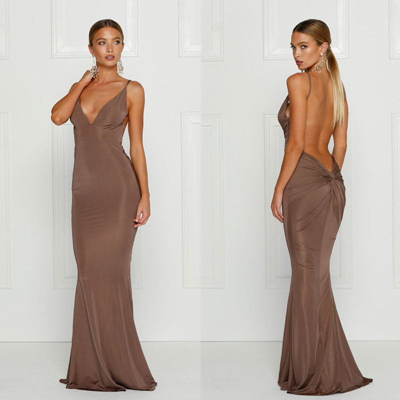 Slaygirl Backless Maxi Long Dress Women Strap Floor Length Deep V Neck <font><b>Sexy</b></font> Dress Elegant <font><b>Club</b></font> <font><b>Party</b></font> Dresses Autumn Vestido <font><b>2018</b></font> image