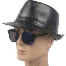 men s classic fedora hat winter short brim mens hats fedoras faux leather cowboy hats unisex