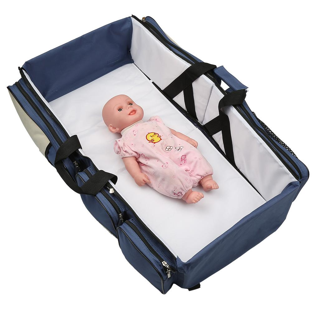 Image 2 - 3 In 1 Waterproof Baby Travel Crib Changing Diapers Foldable Mummy Shoulder Bag Baby Nappy Bag Bassinet Crib Diapers ToteDiaper Bags   -