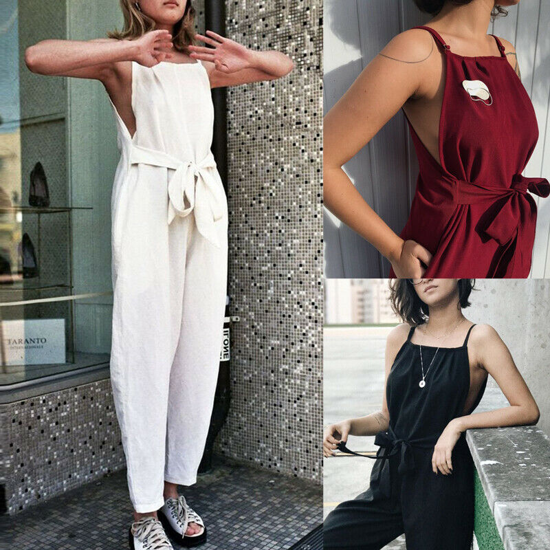 Fashion Women Summer Casual Knitting Sleeveless Pants   Rompers   Female Solid Casual Long Trousers Jumpsuit