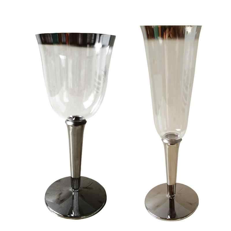 Plastic Wine Glasses Champagne Flutes Wedding Party Disposable Cups 40pcs Clear