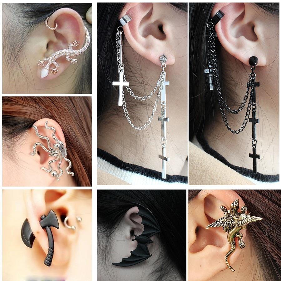 UK Gold Coloured Chains Cross Earring long tassel Punk Goth Ear Cuff Silver