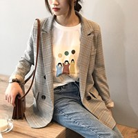 Spring Blazer Korean Slim Restore Plaid Blazer Notched Feminine Outwear Loose Suit Harajuku Vintage Jacket