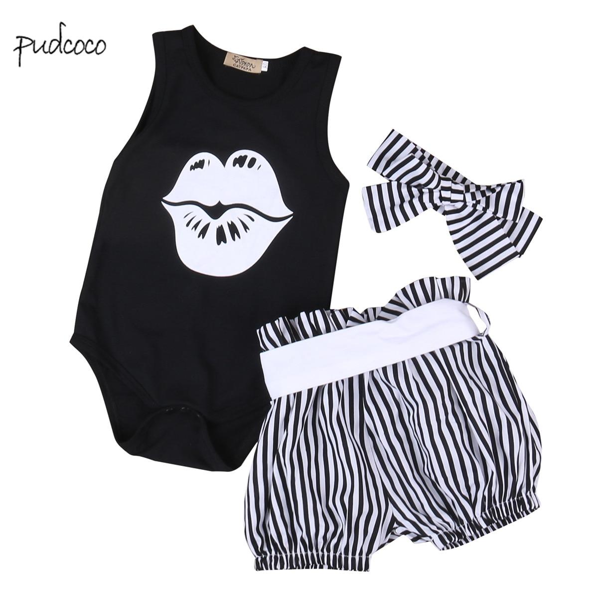 Pudcoco New Brand 3pcs Baby Boys Girls Short Sleeve Shirt + Striped  Shorts + Headband Outfit Set